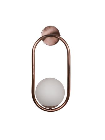 Modern Matt Copper Rose Finished Capsule Ring White Globe Wall Sconce