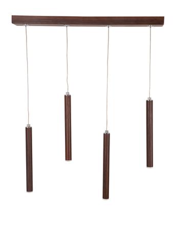 Modern 4 Flutes Tubular Wooden Finished 24 Watts LED Cluster Pendant Light