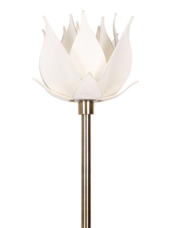 Auspicious Ivory Blooming Lotus Antique Brass Floor Lamp