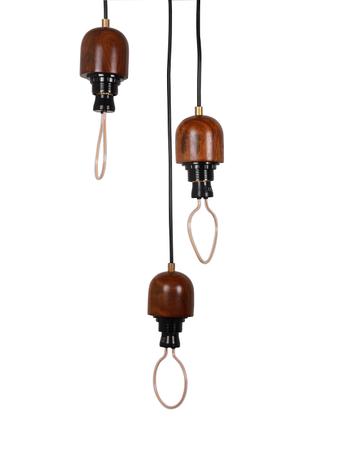 Modern Wooden 3 Light Cluster Hanging Pendant Lamp