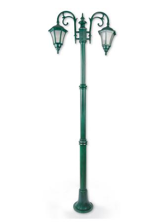 Classic Antique Green 2 Light Pole Light