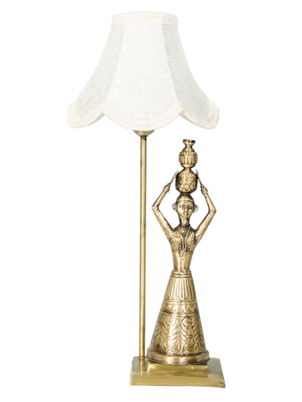 hand carved Brass Rajasthani Village Table Lamp