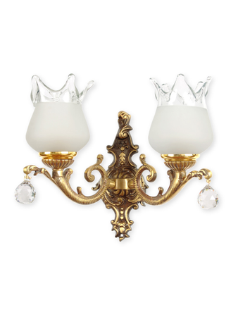 Antique Crystal Ball Double Wall Lamp