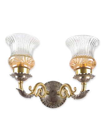 Dual Finish Luster Double Brass Wall Light
