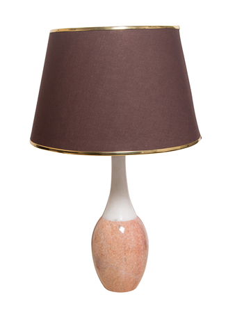 White & Pink Marble Bottle Table Lamp With Brown Fabric Shade
