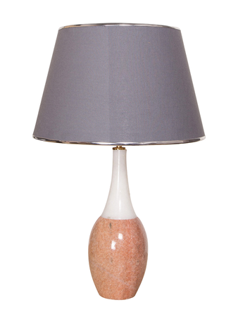 White & Pink Marble Bottle Table Lamp With Grey Fabric Shade
