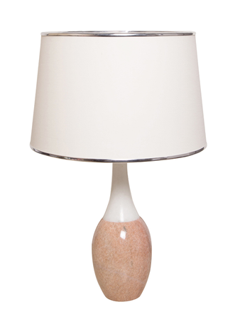 White & Pink Marble Bottle Table Lamp With White Fabric Shade