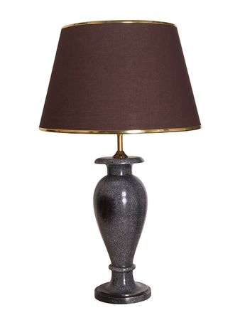 Charcoal Marble Vase Table Lamp With Brown Fabric Shade