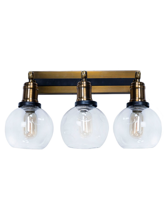 Contemporary Industrial 3 Globes Vanity Mirror Light