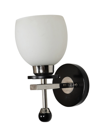 Round Shape Frost Glass Stainless Steel Wall Light/Lamp Wall Hanging Lamp Wooden Base having Chrome Finish ( Holder E27)