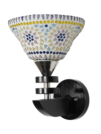 Premium Quality Wall Light in Black Finish with Colourful Mosaic Glass Transitional Wall Lamp and Wall Sconce for Home Decor (Steel Body)