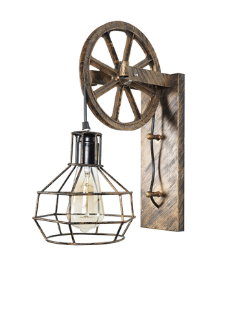 Decorative Wall Light Wall Lamp with Steel Material and Antique Gold Finish Cage on a Pulley Industrial Wall Sconce for Home and Business Decor