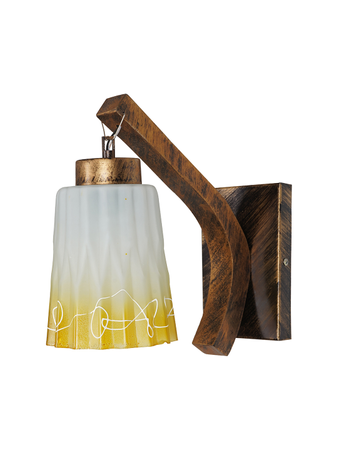 Surface Mounted Wall hanging Light in Gold Colour With Steel, Glass & Wooden Body Modern Contemporary Lighting