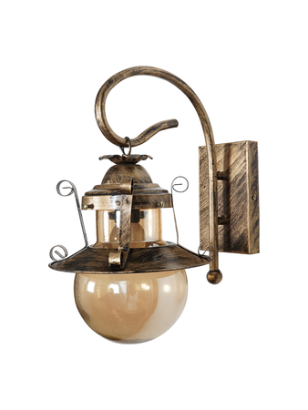 Globe Shape Antique Wall Light in golden lustrous glass Wall Light with E27 Holder Rustic Style Wall Lamp with Steel and Glass Body