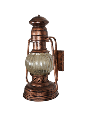 Aesthetic Lantern Shape with Antique Copper Finish and Steel Wall Light with Glass Covering Wall Lamp for Home Decor (E27 Holder)