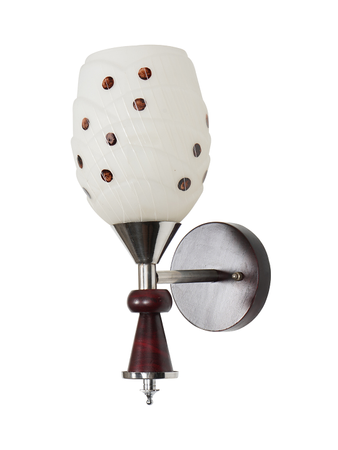 Red Colour and Chrome Finish Wall Light Wall Lamp with Dotted Glass & Wooden Surface