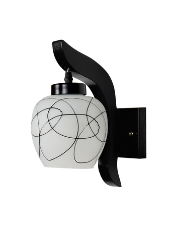 Contemporary Downward Wooden Wall Sconce with Fancy Scribbled Glass Shade for Bedroom, Living Room and Outdoor