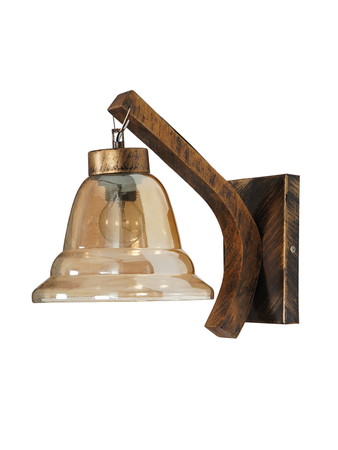 Downward Wall Light with Wooden Body and Steel Base Wall Lamp Wall Sconce in Gold Colour with Antique Gold Finish