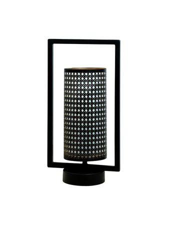 Cylindrical Bucket Metal Cane Design Table Lamp