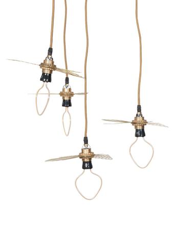 Set of 4 Etched Metal Golden Birds Pendant Lamp