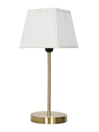 Clean and Simple Matt Brass Table Lamp with Square Pleated Fabric Shade