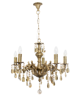 Candle Lamp 5 Lights Honey Crystal Brass Chandelier