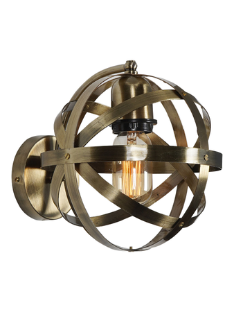 Orb Cage Antique Brass Finished Contemporary Wall Lamp