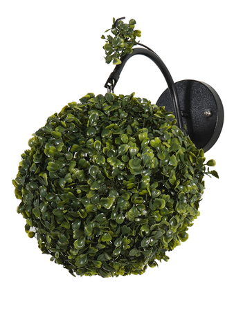7 inches Faux Green Grass Ball Topiary Wall Sconce